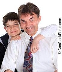 ojciec, szczęśliwy, syn