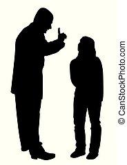 ojciec, teenage, córka, konflikt, między