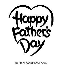 ojcowy, tytuł, hand-drawn, dzień, szczęśliwy