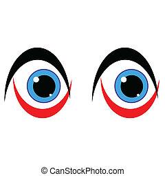 ojo azul, blanco, arte, plano de fondo