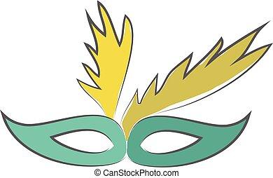 ojo azul, carnaval, máscara de mascarada, ilustración, color...