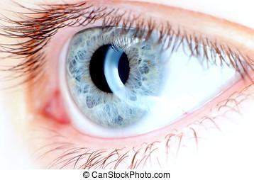 ojo azul, en, macro
