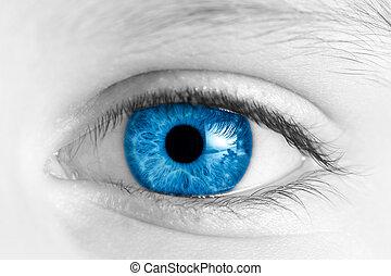 ojo azul, niño