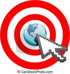 ojo, blanco, apuntar, toros, flecha, internet, mundo, clics