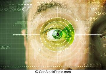 ojo, blanco, moderno,  Cyber, militar, tecnología, hombre
