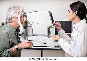 ojo, campo, visual, por, prueba, examen