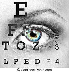 ojo, con, prueba, visión, gráfico