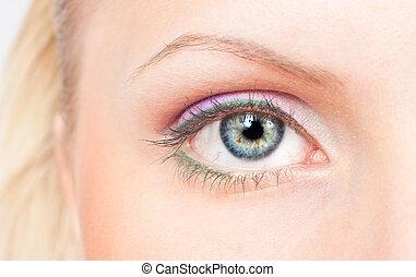 ojo, con, rosa, y, verde, maquillaje
