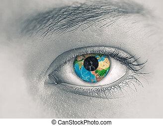 ojo, con, tierra, planeta