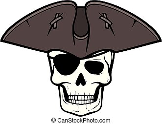ojo, cráneo, remiendo, triángulo, sombrero, pirata