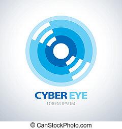 ojo, cyber, icono