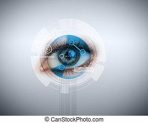 ojo de la mujer, teniendo, reconocimiento