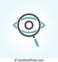 ojo de vidrio, buscando, aumentar