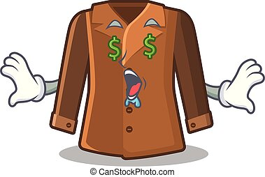 ojo, dinero, atrás, chamarra, colgado, puerta, caricatura