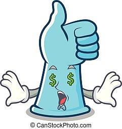 ojo, dinero, guantes de goma, caricatura, mascota