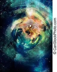 ojo, en, espacio