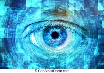ojo, exhibición, digital