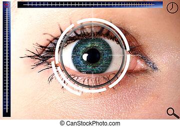 ojo, exploración, cyber, verde, identificación, seguridad, o