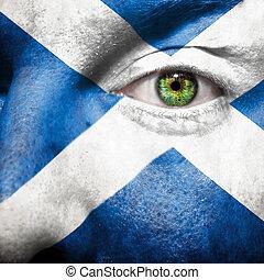 ojo, exposición, pintado, apoyo, escocia, cara, bandera,...