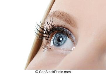ojo femenino, con, largo, pestañas, primer plano