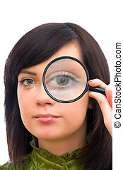 ojo, girl\'s, magnificado, vidrio, por, blanco
