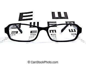 ojo, gráfico, anteojos