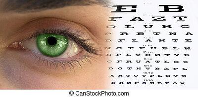 ojo, gráfico, hombre,  fa, prueba,  visión