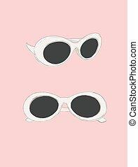 ojo, illustration., gato, retro, vector., anteojos, uso