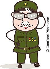 ojo, imaginación, sargento, vector, ilustración, caricatura...