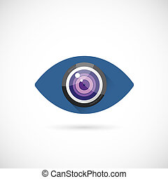 ojo, lente, resumen, vector, concepto, símbolo, icono, o, logotipo, plantilla