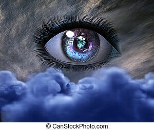 ojo, niña, 3d, hermoso