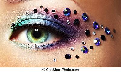 ojo, primer plano, con, maquillaje