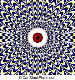 ojo, rojo, illusion), (motion