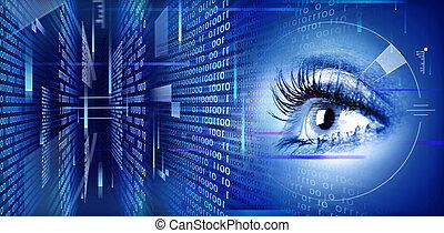 ojo, tecnología, fondo.