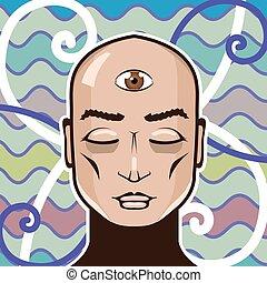ojo, tercero, ilustración