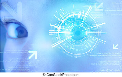 ojo, usuario, plano de fondo, interfaz, tecnología,...