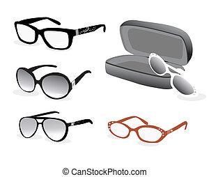 ojo, vector, illustrtaion, anteojos