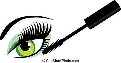 ojo, verde, rímel