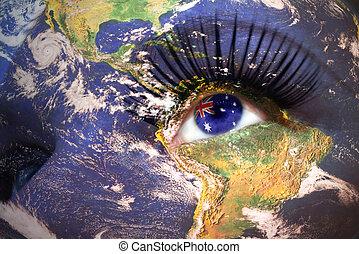 ojo, womans, dentro, textura, cara, planeta, bandera, tierra, australiano