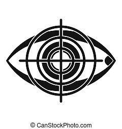 ojo, y, blanco, icono, simple, estilo