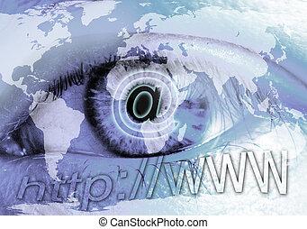 ojo, y, internet