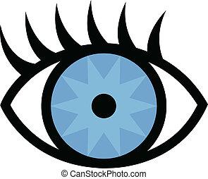 ojo, y, pestañas