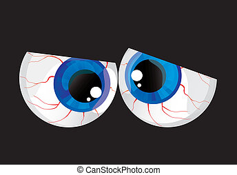 ojos, abultado, hypertrophied, pelotas, inmenso