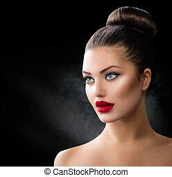 ojos azules, moda, labios, retrato, sexy, modelo, niña, rojo