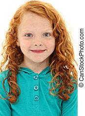 ojos azules, rizado, arriba, pelo, niño, naranja, cierre, ...