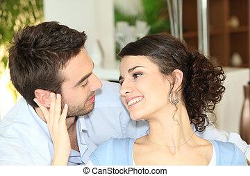 ojos, cariñosamente, pareja, cada, otro, mirar fijamente