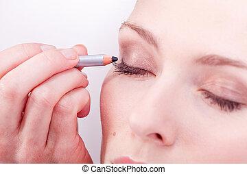ojos, eyeliner, marca, cosmético, arriba, estudio