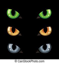 ojos, gato, oscuridad, n