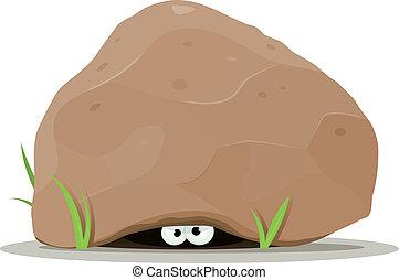 ojos, grande, piedra, animal, debajo, caricatura