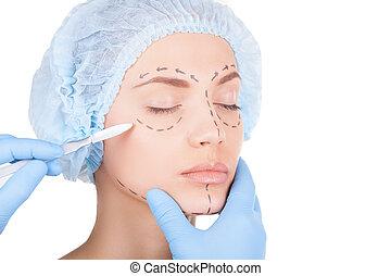 ojos hermosos, mujer, paciente, cerrado, mantener, doctor, médico, headwear, aislado, joven, surgery., mientras, preparando, tenencia, cara blanca, escalpelo